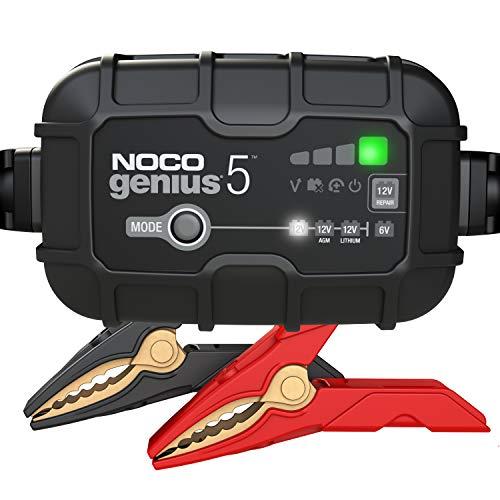 NOCO GENIUS5EU, 5-Amp Vollautomatisches Intelligentes Ladegerät, 6V und 12V Batterieladegerät, Erhaltungsladegerät, und Batterie-Desulfator mit Temperaturkompensation