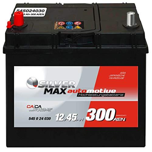 Starterbatterie ASIA SilverMax 12V 45Ah 54524 Pluspol links statt 40Ah