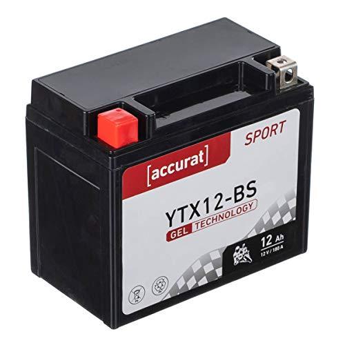 Accurat Motorradbatterie YTX12-BS 12Ah 180A 12V Gel Technologie Starterbatterie in Erstausrüsterqualität zyklenfest sicher lagerfähig wartungsfrei