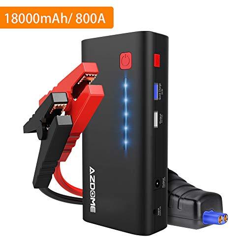 Azdome Auto Starthilfe 18000mAh 800A 66.6Wh Starthilfegerät für Autobatterie Anlasser mit Starthilfekabel, Boost-Funktion, Powerbank, Quick Charge 3.0 USB, LED Taschenlampe Autostarter(XT01)