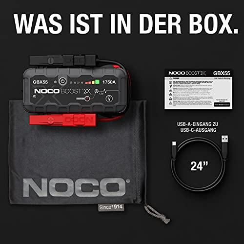 NOCO Boost X GBX55 1750A 12V UltraSafe Starthilfe, Tragbare Auto Batterie Booster, Powerbank-Ladegerät, Starthilfekabel und Überbrückungskabel für bis zu 7,5-Liter-Benzin- und 5,0-Liter-Dieselmotoren