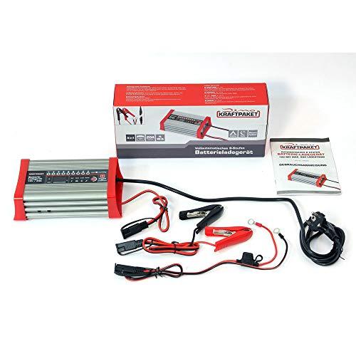 Dino KRAFTPAKET 136320 Batterieladegerät 20A-12V mit Camping-Funktion Nachtmodus und Memory-Speicher für KFZ PKW Auto Wohnmobil Wohnwagen Camper, Silber