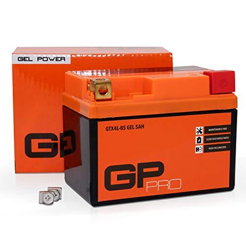 GP-PRO 12V GEL 5Ah GEL Motorrad-Batterie, Roller-Batterie GTX5L-BS, wartungsfrei versiegelt vorgeladen, kompatibel mit YTX4L-BS YTX5L-BS