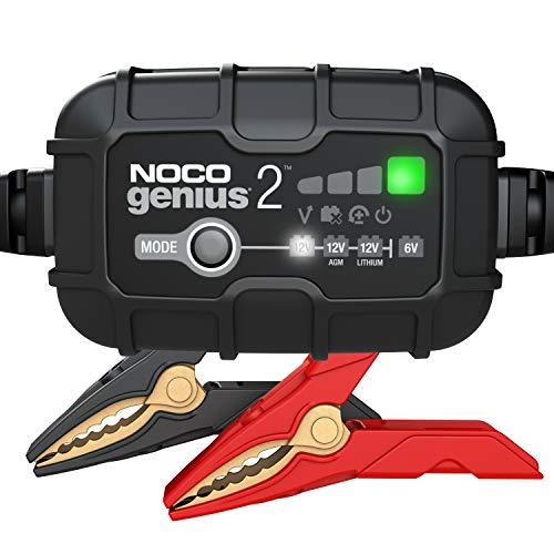 NOCO GENIUS2EU, 2A Vollautomatisches Intelligent Ladegerät, 6V und 12V Batterieladegerät, Erhaltungsladegerät, und Desulfator für Auto, Motorrad, KFZ, LKW, PKW, Boot, Roller, Wohnmobil und Wohnwagen
