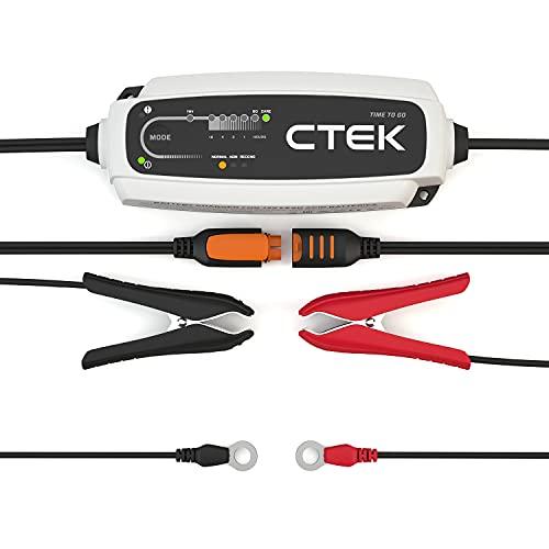 CTEK 40-161 CT5 to Time to Go - Vollautomatisches Batterieladegerät mit Coutdown-Display (Grundladung, Erneuerung, Erhaltungsladung von Auto- und Motorradbatterien) 12V, 5 Amp