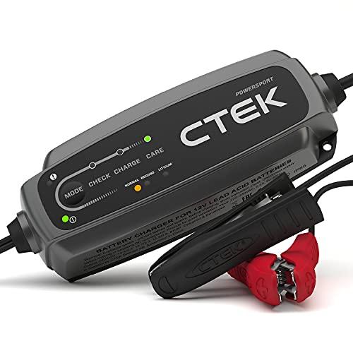 CTEK EU CT5 Powersport Batterieladegerät für 12V Starterbatterien von Motorrädern, Rollern, Quadbikes, Jetski (Auch für Lithium Batterien geeignet) Schwarz 30x7x15 cm