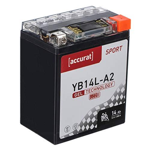 Accurat Motorradbatterie YB14L-A2 14Ah 200A 12V Gel Technologie + LCD Display Erstausrüsterqualität Starterbatterie leistungsstark wartungsfrei