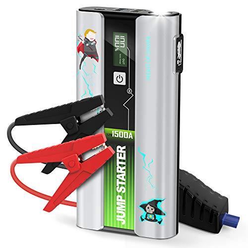 LIMINK Starthilfe Powerbank 1500A 18000mAh Starthilfegerät für 12V Autobatterie(bis zu 7 L Benzin 5.5 L Dieselmotor) mit QC 3.0 Schnellladung LED Taschenlampe
