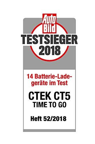 CTEK CT5 Time to Go - Vollautomatisches Batterieladegerät mit Coutdown-Display (Grundladung, Erneuerung, Erhaltungsladung von Auto- und Motorradbatterien) 12V, 5 Amp - EU Stecker