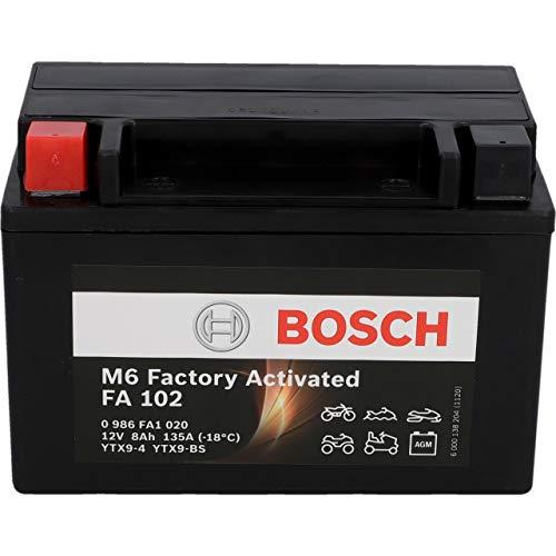 BOSCH Motorradbatterie YTX9-BS 8Ah 135A Gel Technologie zyklenfeste Starterbatterie, lagerfähig, wartungsfrei