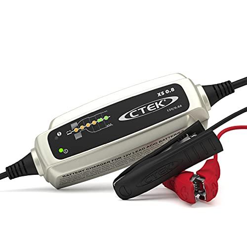 CTEK XS 0.8, Batterieladegerät 12V 0.8A, Erhaltungsladegerät, Intelligentes Ladegerät Motorrad, Jetski, Quad, Motorschlitten, Wasserfahrzeug, Rasenmäher, Batteriepfleger Mit Entsulfatierungsprogramm