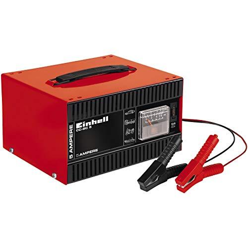 Einhell 1056121 Batterie-Ladegerät CC-BC 5 (für Batterien von 16 bis 80 Ah, 12 V Ladespannung, eingebautes Amperemeter, Stahlblechgehäuse, Überlastungs- und Verpolungsschutz, isolierte Polzangen)
