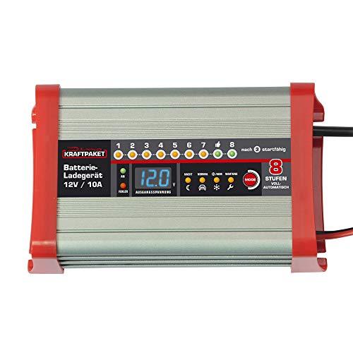 Dino KRAFTPAKET 136321 Batterieladegerät 10A-12V mit Camping-Funktion Nachtmodus und Memory-Speicher für KFZ PKW Auto Wohnmobil Wohnwagen Camper, Silber