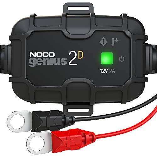 NOCO GENIUS2DEU, 2A Intelligent Bordladegerät mit Direktmontage, 12V Batterieladegerät, Erhaltungsladegerät, und Desulfator für Auto, Motorrad, KFZ, LKW, PKW, Boot, Roller, Wohnmobil, und Wohnwagen