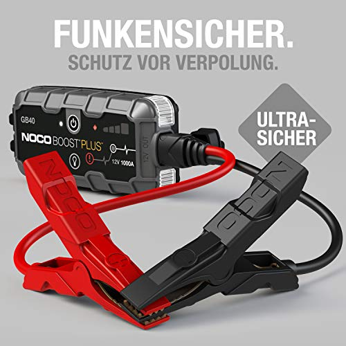 NOCO Boost Plus GB40 1000A 12V UltraSafe Starthilfe Powerbank, Tragbare Auto Batterie Booster, Starthilfekabel und Überbrückungskabel für bis zu 6-Liter-Benzin- und 3-Liter-Dieselmotoren