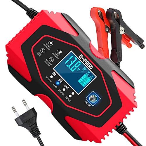 SENTUOSI Autobatterie Ladegerät 12V/24V Batterieladegerät Auto Vollautomatisches Ladegerät Intelligentes Erhaltungsladegerät mit LCD-Touchscreen für Lithium, Gel, LifePO4, AGM, Auto/Motorrad
