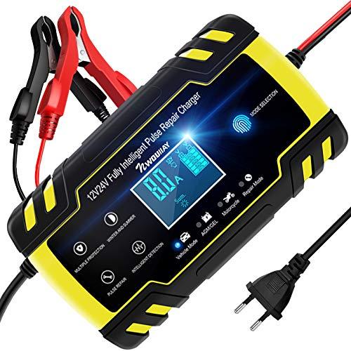 NWOUIIAY Ladegerät Autobatterie 8A 12V/24V KFZ Batterieladegerät Auto Vollautomatisches Intelligentes Erhaltungsladegerät mit LCD-Touchscreen für Auto Motorrad Rasenmäher Boot