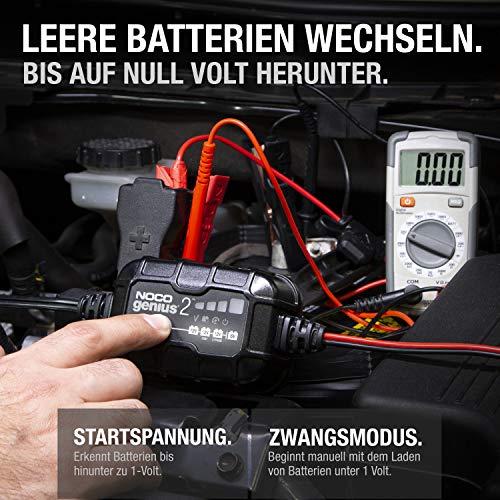 NOCO GENIUS2EU, 2-Amp Vollautomatisches Intelligentes Ladegerät, 6V und 12V Batterieladegerät, Erhaltungsladegerät, und Batterie-Desulfator mit Temperaturkompensation