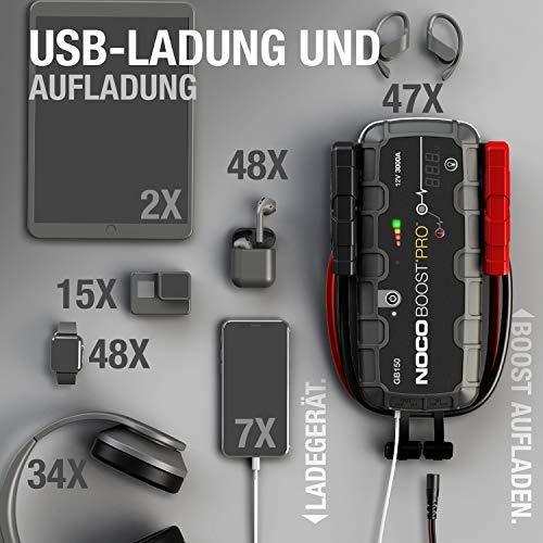 NOCO Boost Pro GB150 3000A 12V UltraSafe Starthilfe Powerbank, Tragbare Auto Batterie Booster, Starthilfekabel und Überbrückungskabel für bis zu 9-Liter-Benzin- und 7-Liter-Dieselmotoren