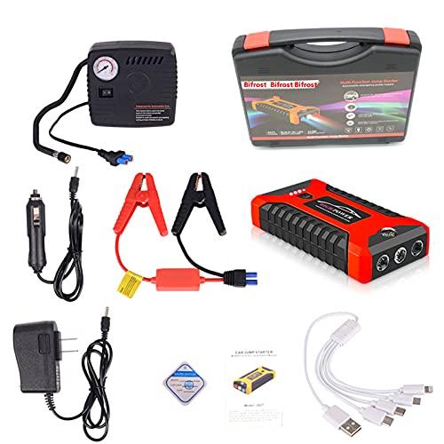 CYXY 12V 600A LED Auto-Starthilfe, tragbare Notladegerät Batterie Power Bank Auto Booster Starter ist wasserdicht, kann sofortige Stromversorgung für Autos, SUVs und Motorräder liefern,red,99800mAh