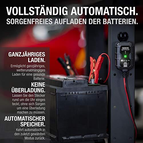 NOCO GENIUS1EU, 1-Amp Vollautomatisches Intelligentes Ladegerät, 6V und 12V Batterieladegerät, Erhaltungsladegerät, und Batterie-Desulfator mit Temperaturkompensation