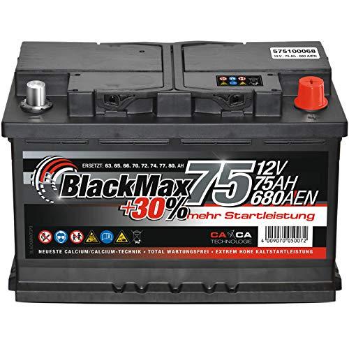 Autobatterie 12V 75Ah 680A BlackMax PKW Batterie ersetzt 65Ah 70Ah 72Ah 74Ah