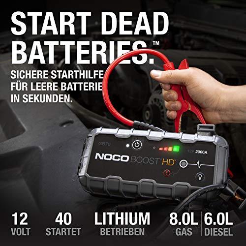 NOCO Boost HD GB70 2000A 12V UltraSafe Starthilfe Powerbank, Tragbare Auto Batterie Booster, Starthilfekabel und Überbrückungskabel für bis zu 8-Liter-Benzin- und 6-Liter-Dieselmotoren