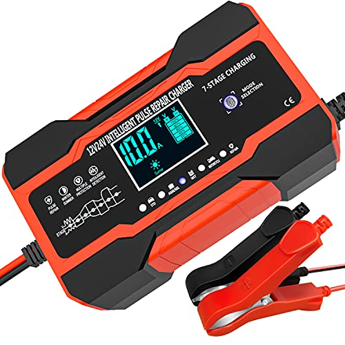 10A Autobatterie Ladegerät, 12V/24V Smart vollautomatische KFZ Batterieladegerät mit Temperaturkompensation für Auto LKW Motorrad Rasenmäher Boot Marine Batterien