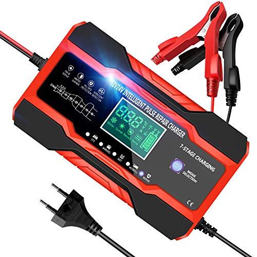 YDBAO Autobatterie Ladegerät 10A 12V 24V Batterieladegerät Auto Vollautomatisches Batterie Ladegerät Mit LCD Touchscreen Automatische Temperaturkompensation Reparaturmodus Für Auto Motorrad Boot Rot