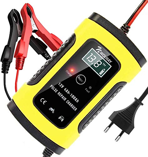 NWOUIIAY Autobatterie Ladegerät 6A/12V Batterieladegerät Auto Vollautomatisches Ladegerät mit LCD-Bildschirm Batterieladegerät für Auto und Motorrad