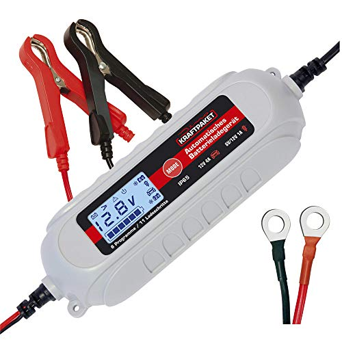 Dino KRAFTPAKET 136312 Batterieladegerät 6V/12V-4A mit Batterietester und Erhaltungsladung für KFZ PKW Auto Motorrad mit Komfortstecke, Ringösenkabel und Batterieklemmen, Grau