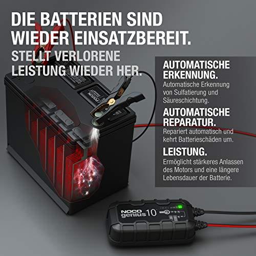 NOCO GENIUS10EU, 10-Amp Vollautomatisches Intelligentes Ladegerät, 6V und 12V Batterieladegerät, Erhaltungsladegerät, und Batterie-Desulfator mit Temperaturkompensation