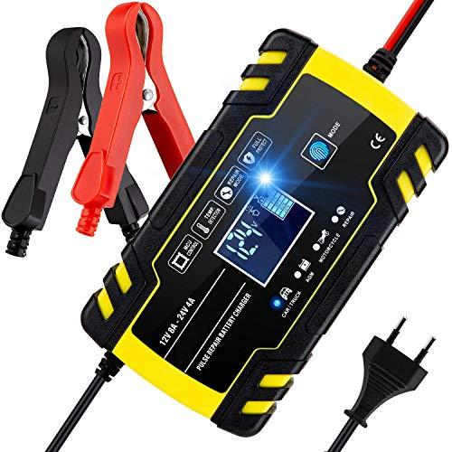 SENTUOSI Autobatterie Ladegerät 12V/24V Batterieladegerät Auto Vollautomatisches Intelligentes Erhaltungsladegerät mit LCD-Bildschirm, Ladegeräte für Autobatterien und Motorradbatterie
