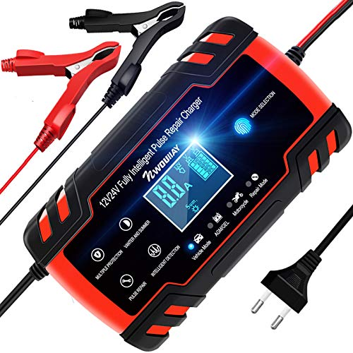 NWOUIIAY Autobatterie Ladegerät 8A 12V/24V Batterieladegerät für Auto Vollautomatisches Intelligentes Erhaltungsladegerät mit LCD-Bildschirm Mehrfachschutz für Autobatterien und Motorradbatterie
