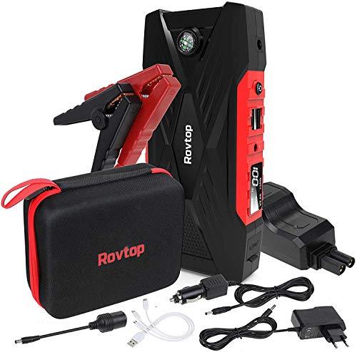 Rovtop Auto-Starthilfe, 600 A, 16500 mAh, Starthilfegerät für Autobatterie (bis zu 7 l, 5 l Benzin oder 6 l Diesel) mit Dual USB-Ladeanschlüssen, LED-Taschenlampe Schwarz