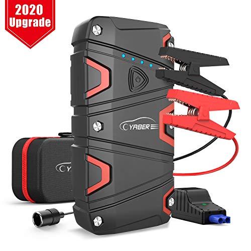 YABER Starthilfe Powerbank 1200A Spitzstrom 15000mAh Auto Starthilfe für 7,5L Benzin oder 6L Dieselmotor Starthilfegerät mit LED Taschenlampe, QC3,0 Ausgang