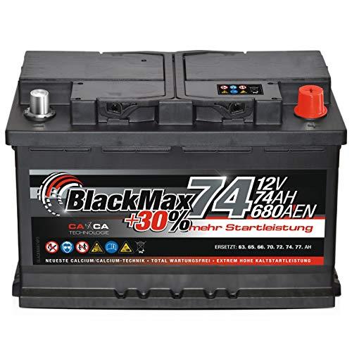 PKW Batterie Autobatterie 12V 74Ah BlackMax Starterbatterie statt 70Ah 72Ah 75Ah