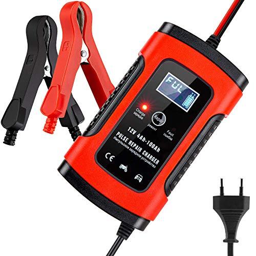 BUDDYGO Batterie Ladegerät Auto, Autobatterie Ladegerät, 5A 12V Vollautomatisches Batterieladegerät Auto Erhaltungsladegerät mit LCD Mehrfachschutz für Autobatterie, Motorrad, Rasenmäher oder Boot