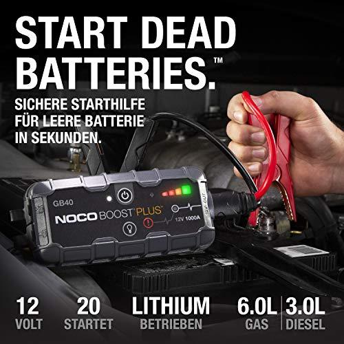 NOCO Boost HD GB40 1000 Ampere 12 Volt UltraSafe tragbares Lithium-Autobatterie-Starthilfe-Pack, Starthilfe Powerbank und Starthilfekabel für bis zu 6-Liter-Benzin- und 3-Liter-Dieselmotoren