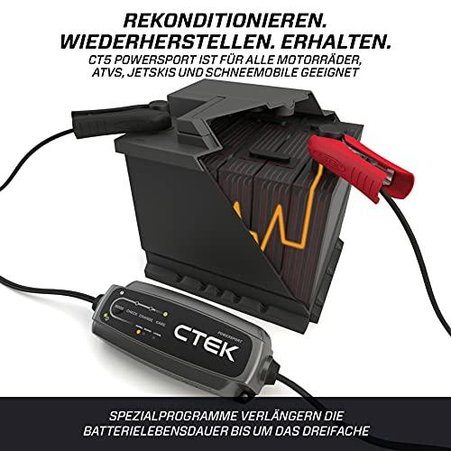 CTEK CT5 Powersport, Batterieladegerät 12V 5A, Ladegerät LiFePO4, AGM Ladegerät, Lithium Ionen Ladegerät Motorrad, Quad-Bike, Schneemobil, Wasserfahrzeug, Batteriepfleger Mit Rekonditionierungsmodus
