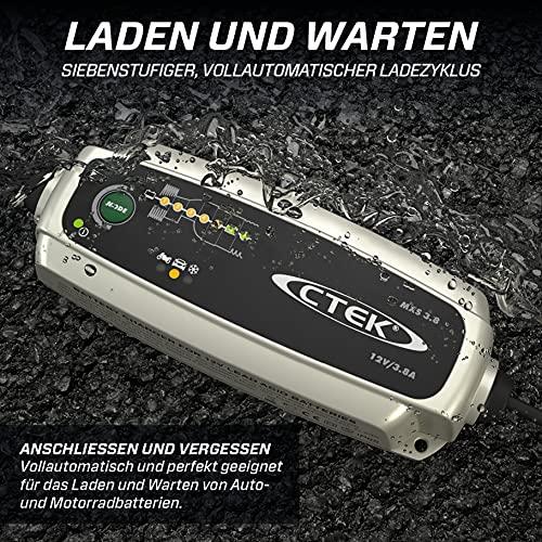 CTEK MXS 3.8, Batterieladegerät 12V 3.8A, Erhaltungsladegerät, Intelligentes Ladegerät Autobatterie, Ladegerät Auto Und Motorrad, Batteriepfleger Mit Entsulfatierungsprogramm Und Winterprogramm